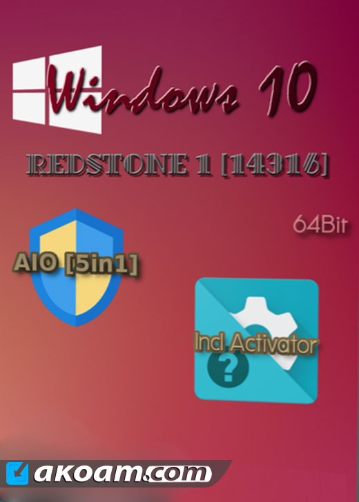 ويندوز Windows 10 Redstone 1.14316 En-us AIO