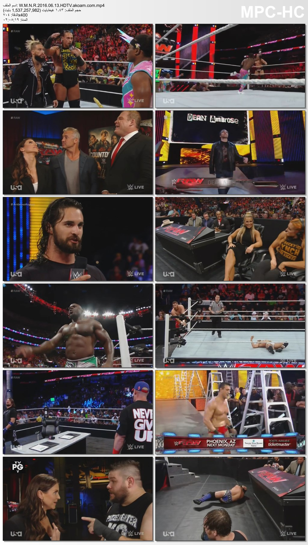 WWE Monday Night Raw,WWE,Raw,الرو,WWE Monday Night Raw 13.06.2016