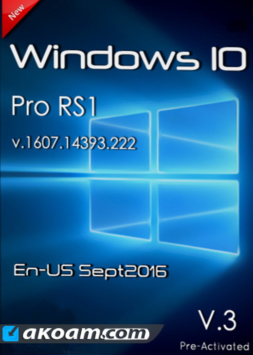 ويندوز Windows 10 Pro RS1 v.1607 v.3 Sept 2016