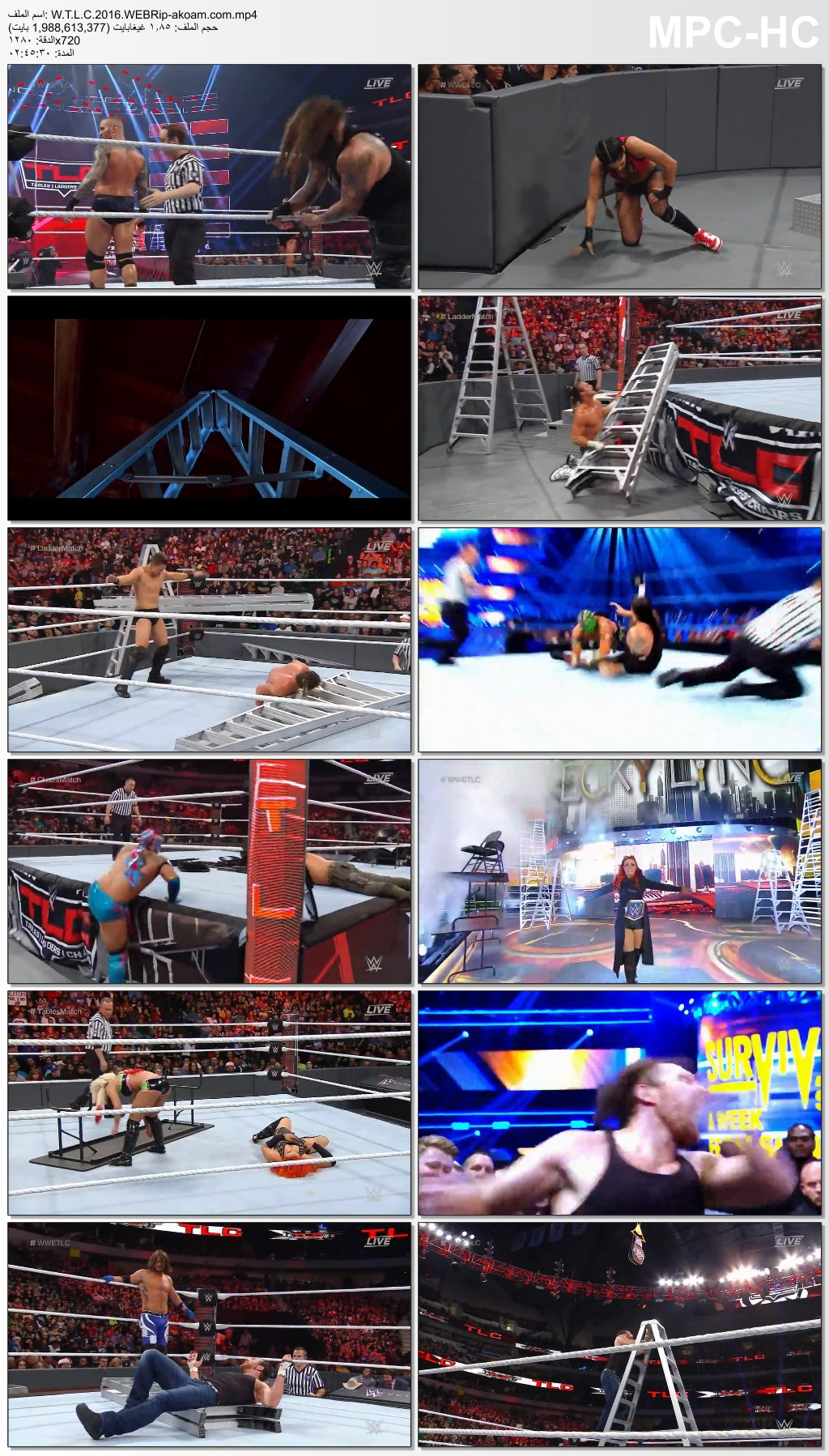 WWE TLC 2016 live,Dean Ambrose vs AJ Style,Tables,Ladders & Chairs 2016,WWE TLC 2016,WWE TLC 2016 كاملا,WWE TLC 2016 مترجم