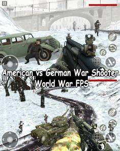 لعبة American vs German War Shooter World War FPS MOD للأندرويد